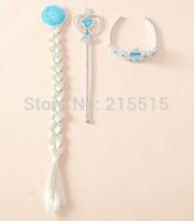 3Pcs/set Frozen Crown Princess Elsa Frozen Crown girls Hair Accessories brand Tiara Cosplay Crown + Wig +Magic Wand