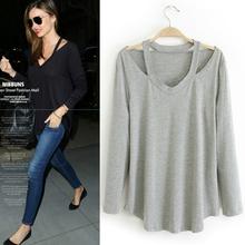 High Street Casual camisas corte de mulheres blusa roupas baratas da China Plus Size novo 2014 outono top preto / branco / cinza grátis frete(China (Mainland))
