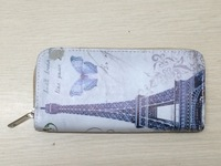 Printed Long Wallet For Women Lady Big Ben Eiffel Tower The Leaning Tower Rose Flower Beauty 30 Design 2014 Fashion Purse wrist