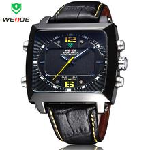 2014 nueva moda WEIDE Digital Alarm fecha / día rojo LED Montre de buceo deportivo relojes analógicos de cuarzo militar reloj de pulsera de cuero
