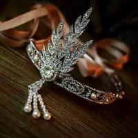 2014 Great Gatsby Daisy  Luxury Sparkly Rhinestone Pearl Tassel HairBands Party Feather Royal Headbands Women Wedding Jewelry