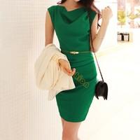 New Hot cowl neck ol slim elegant Dress fashion women office dress sleeveless Chiffon dress Women with belt B11 SV003971