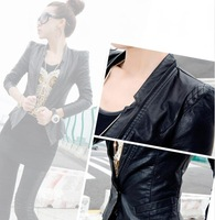 New arrival 2014 handsome female quality water washed leather check shoulder pads zipper leather clothing
