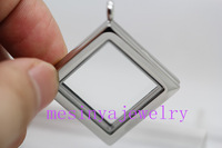 10pcs stainless steel  new shape plain glass locket for floating charms