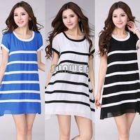 New Arrival Summer Women Sexy Loose A Line Chiffon Big Yards M-XXL Black and White Striped Mini Party dress B16 SV00599