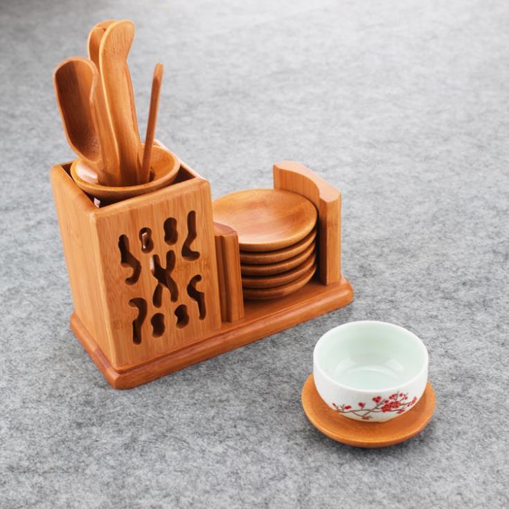 Korean style gold color natural bamboo Japan tea ceremony puer tea accessories tea tools cup mat tea cup pad ,LiuJunZi(China (Mainland))
