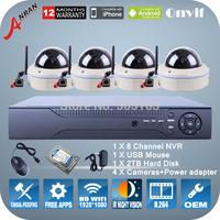4PCS 2.0Megapixel 1080P HD WIFI Camera ONVIF H.264 8CH NVR Network Video Surveillance Kit Dome IR Night Vision Cameras System