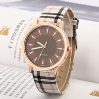 Brand New Fashion Plaid Leather Strap Watches Simple Style design Quartz Watches Men & Ladies Fashion Watch Women dress watches