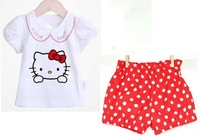 Free shipping kids Summer sets Baby girls clothing sets short t-shirt+pants girls sports suits