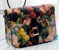 2014 New Fashion Floral Envelope Flower Printed Shoulder Cross-body Vintage Women Messenger Bags Postman PU Leather Shoulder Bag