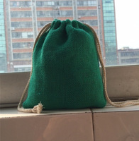 "SIZE:10X15cm(4""x6""),Green Color jute burlap drawstring bag with cotton drawstring,Custom logo,size and bag design acceptable"