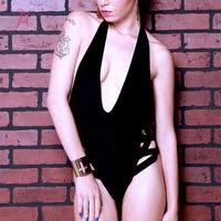 2014 Summer Fashion Black Crossing Sides Halter Teddy One Piece Swimsuit Cheap Victoria Swimwear LC3171