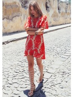 2014 for love and lemons dresses short sleeve red and white color