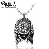 Fashion stainless Steel Alien Mask Jagged Elders Necklace Pendant Man Cool Vintage Movie Jewelry Free Shipping BP1257