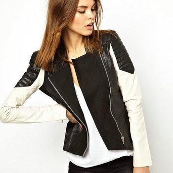 Женщины Pu Leather Jacket Ladies Motorcycle Черный + Белый Patchwork Длинный Рукав ...