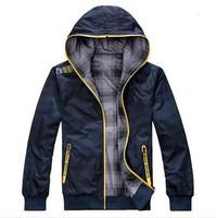 2014 Autumn men's Windbreaker casual sports jacket zipper cardigan men hooded jacket unlined thin men sportswear coat two sides.