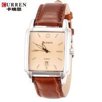 100% Original Curren Watch Man Square Dial Genuine Leather Band Quartz Analog Casual Men Wristwatches relogio masculino 2014