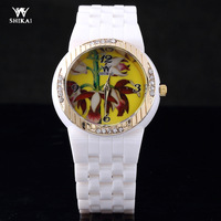 High Quality Ceramic Ladies Watches, Analog Ladies Dress Watches, Print Flower Dial Fashion Watches