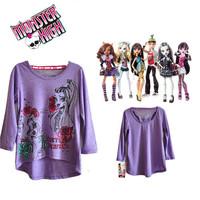 Monster High Original 100% Brand New Monster.High T Shirt Full Sleeve Kids Girls Monster High Top Quality Free Shipping DA359