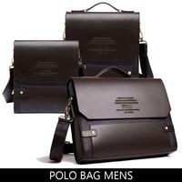 POLO bag 2014 new PU leather handbags cross body male bag briefcase Business single shoulder bag leisure men messenger bag black