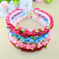 1 piece new 2015 arrival cute kids headbands with flowers children hair accessories floral fabric hair band girls headbands