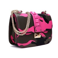 2014 brand studded shoulder bag women rivets bag handbag, famous design Camouflag print bag