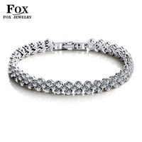 2014 new fashion 18k white gold plated Korean women jewelry charm bracelets cubic zirconia crystal heart free shipping OB935