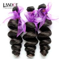 "Unprocessed 6A Peruvian Loose Wave Virgin Hair Weave Bundles 3 pcs Lot Natural Black 12""-30"" Cheap Human Hair Extensions Can Dye"
