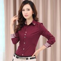 2014 Slim Waist Long-Sleeve Shirt Female Rhinestones Collar Plaid Cuff Formal Blouses Shirts Women's Tops
