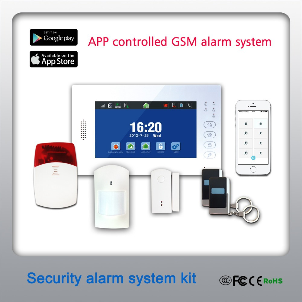APP operated 7 inch touch screen GSM burglar alarm system with backup battery used for residential homes and business(China (Mainland))