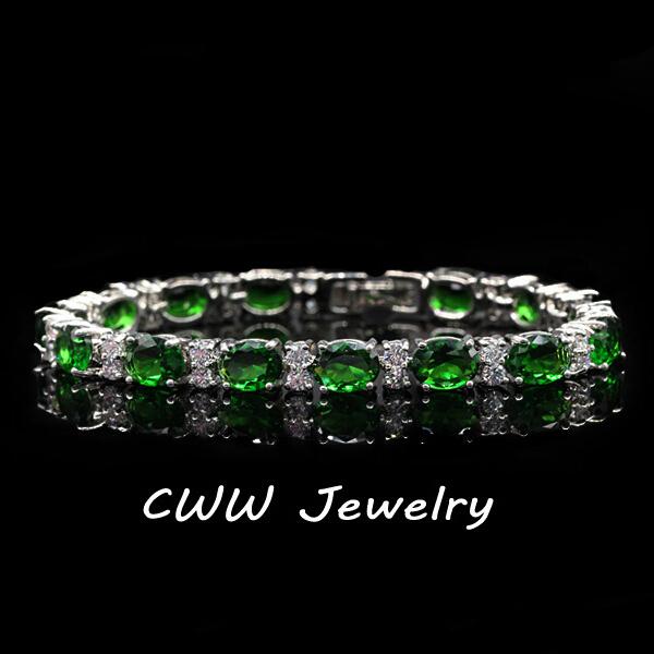 Fashion CZ Diamond Jewelry Silver-plated Emerald Green Cubic Zirconia Crystal Charm Bracelets Bangles For Women (CB061)(China (Mainland))