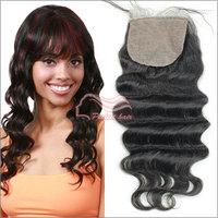 "Brazilian virgin hair loose wave silk base lace closure 10""-18"" in stock free shipping"