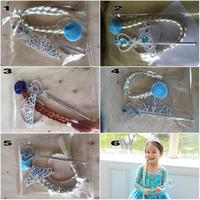 EMS DHL Free ship Children Girls Ornaments Frozen Magic Wand + Rhinestone Crown + Hairpiece Girls Wig Children Party Accessories
