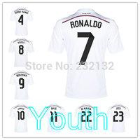 Youth 14/15 Real Madrid Home White Away Pink Jerseys Kids Bale 7 Ronaldo Benzema Ramos Alonso Modric James RODRIGUEZ Toni KROOS