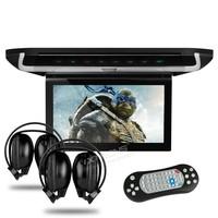 "10"" Flip Down Car DVD Car Roof DVD Roof Monitor Car DVD with 2 IR Headphones & Built-in HDMI Port & DVD/VCD/CD/SD/USB Function"