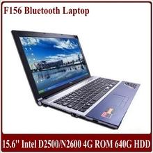 New arrival Dropshipping 15.6 inch laptop computer Atom D2500/N2600 4G RAM 640G HDD DVD-RW WIFI Bluetooth HDMI Webcam Netbook PC(China (Mainland))