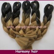 Frete grátis !!! Cabelo sintético longo de 100 kanekalon ombre trança jumbo extra ( 10pcs / lot ) dobrado comprimento 20 polegadas Black & 27(China (Mainland))