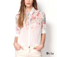 Fashion Women Chiffon Blouses Women Flower Print Lapel Casual Chiffon Long Sleeved Shirts Women Tops WF-4086B