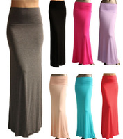 2014 Women Skirts Candy Color High Waist Package Hip Ankle-Length Saias Brief Casual Femininas Long Skirt 6Colors8055