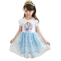 New Arrival Frozen Baby Girl Princess Dress Cartoon Pink White Toddler Dresses 1-5Age Kids Dresses Frozen Children Clothing