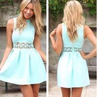 Summer dress 2014 Fashion Women Mini dress Chic Style Ball Gown Dress party Sexy Celeb Blue Dress Free Shopping