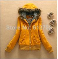 new 2014 winter hoodies thickening warm pure color moleton feminino cardigan fur collar coat dress women hoody sweatshirt