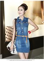 2014 Best Selling Women Short Jeans Dresses Sleeveless Zipper Front Short Slim Denim Dress 6 colors S-XL Size Free drop Shipping