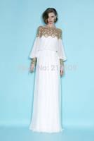2014 Autumn Maxi Dresses Best Quality Women's Desigual Apricot Long Sleeve Bead Pleated Chiffon Maxi Long Party Vestidos Dress