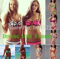 Neoprene Push UP  PU Bikinis (Diving Suit Material ) Swimwear Triangle  Bikini Set Triangl  Swimsuit Set Green T101 5 colors