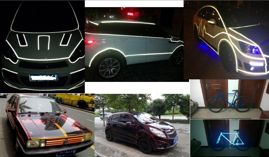1.5CM * 100CM car reflective sticker 3M Reflective car strip rim stickers reflective decoration lines body rim sticker(China (Mainland))
