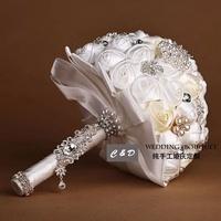 silk flowers ivory satin bouquets rose wedding flower satin flower bouquet  wedding bouquete ivory holdding flowers wedding