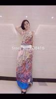 Hot-selling  Holiday style 2014 Charming Printed Sleeveless Top+Printed Long Skirt Skirt Set  (1 set)  140724HB01