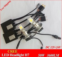 Free Shipping  H7 LED car head Light CREE CXA1512 Chips3600lm 50W super white 6000K 12V 24V car headLights