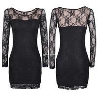 2014 New Fashion Sexy Women's Ladies Floral Lace Dress Long Sleeve Bodycon Evening Mini Dress M/L/XL B11 SV006041